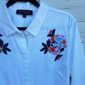 NWT Eloquii shirt dress 22 embroidered cotton